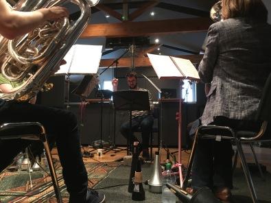 Michael Betteridge conducts members of Wingates Brass Band