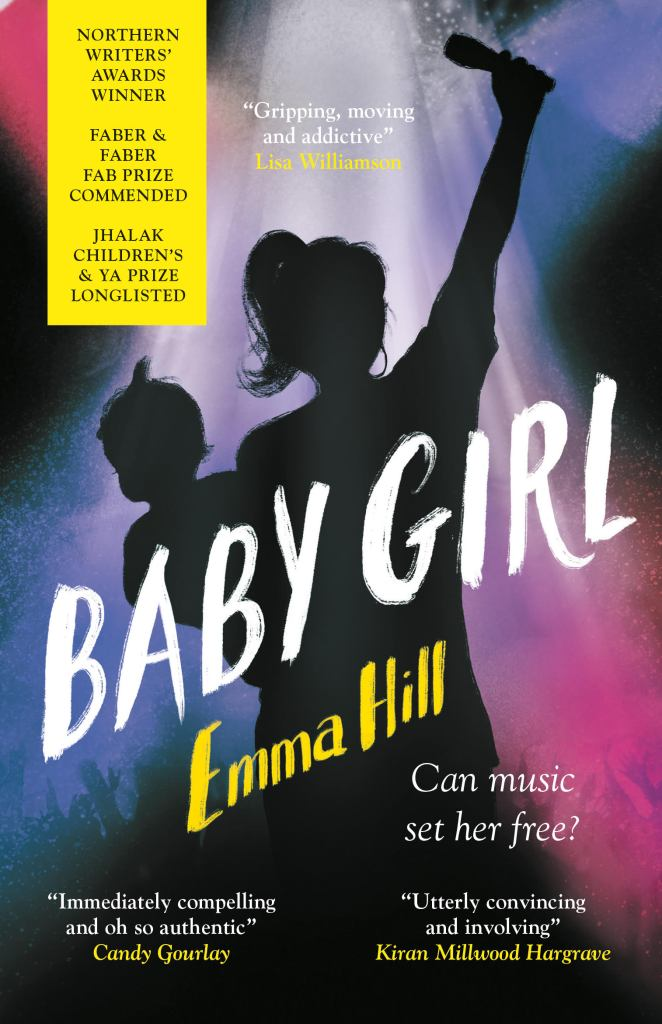 Cover of Baby Girl showing the back silhouette of a young woman, holding a microphone in the air, with a baby on her hip